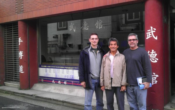 Master Trevino in front of the World Moo Duk Kwan Headquarters in Seoul, Korea with his instructor, Master H.Y. Kwon, and his fellow practitioner, Master Peter Douris.